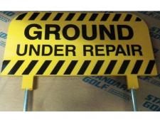 Sign plastic GROUND UNDER REPAIR<br>