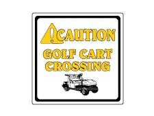 Aluminum info sign 30x30 cm  <br>CAUTION GOLF CART